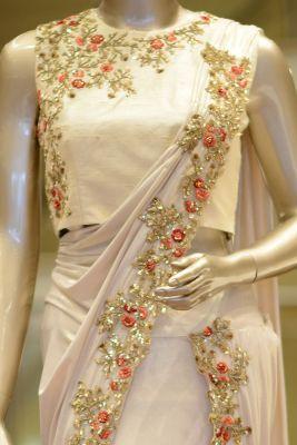 Light Gold Lycra Sequins Embroidered Saree-SR24452