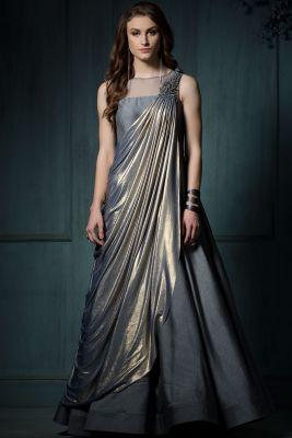 Grey & Gold Lycra Applique Embroidered Saree-SR24604