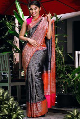 Persian Blue & Gold Zari Woven Banarasi Silk Saree-SR24815