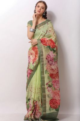 Light Green Handloom Printed Saree-SR24889