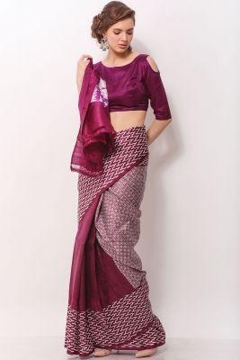 Purple Handloom Printed Saree-SR24921