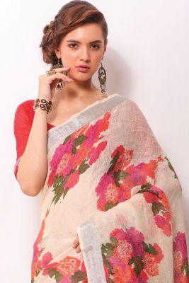White Handloom Printed Saree-SR24926