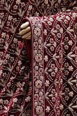 Wine & Carnation Pink Zardosi Embroidered Designer Saree-SR25013