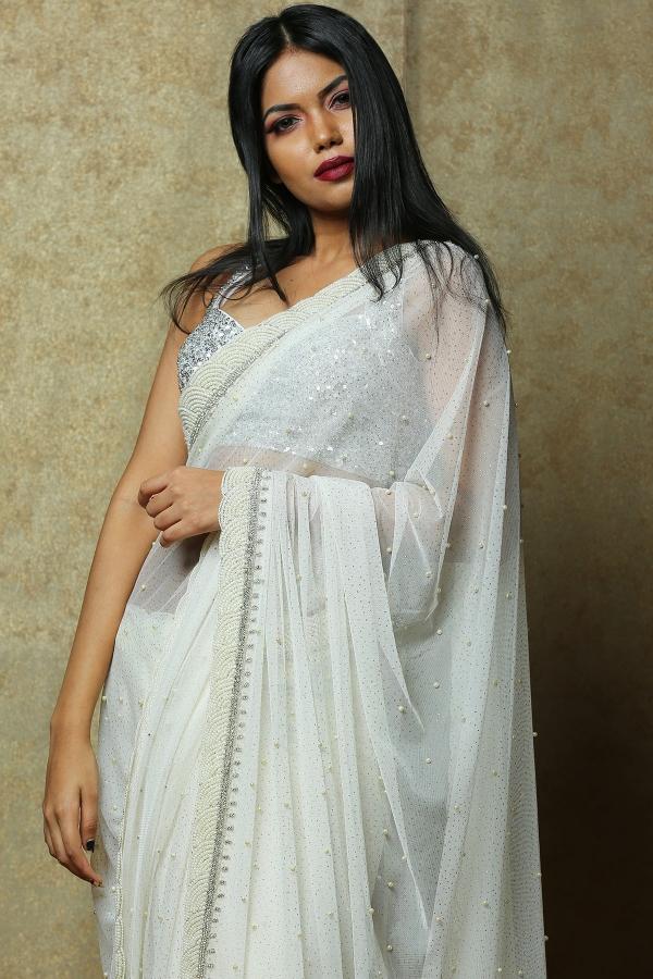 White Pearl Embroidered Net Saree-SR25262