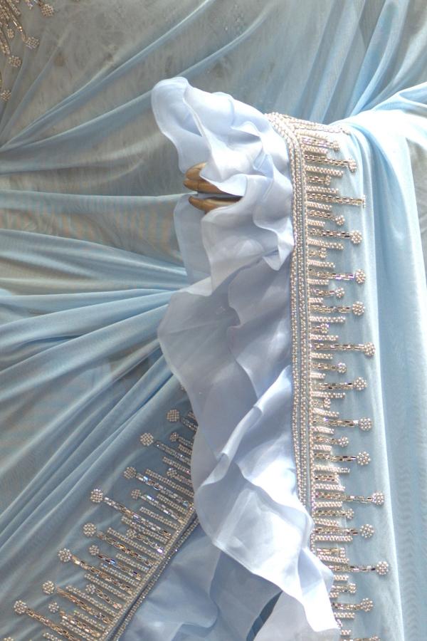Light Blue Bead Embroidered Lycra Saree-SR25305