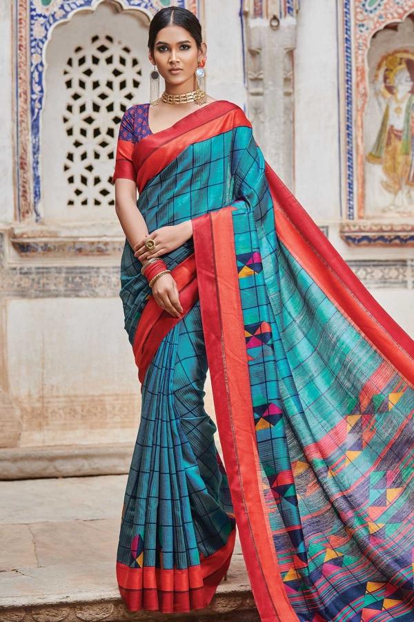 Sea Blue Printed Moonga Silk Saree-SR25307