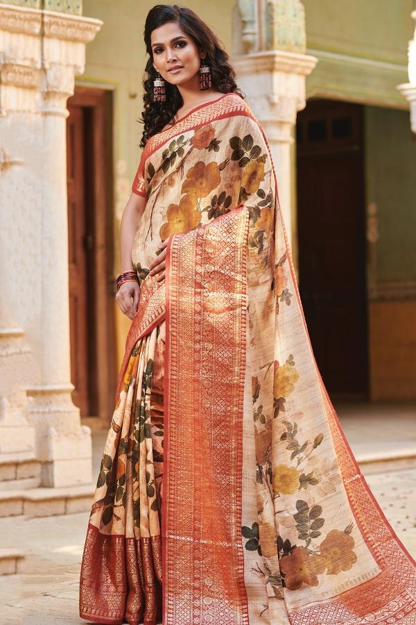 Beige Printed Moonga Silk Saree-SR25334
