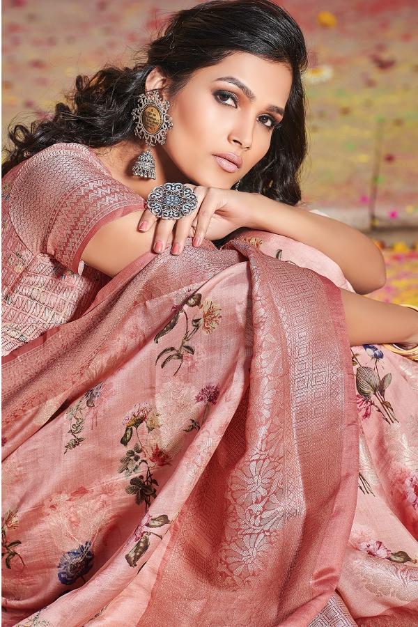 Light Pink Printed Katan Silk Saree-SR25361