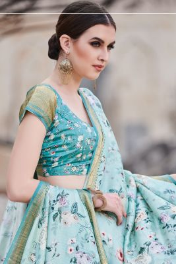 Blue Shaded Printed Chiniya Silk Saree-SR25369