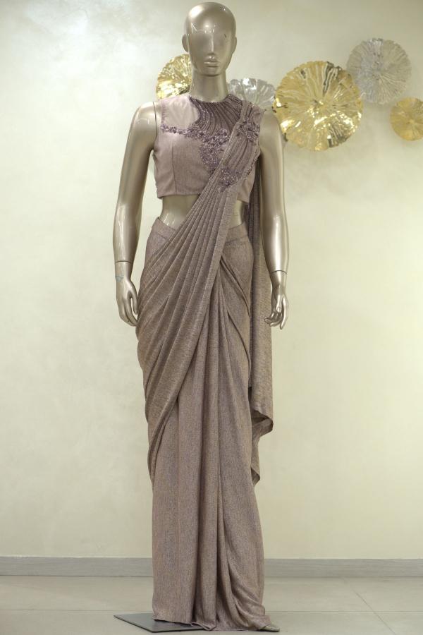 Pink & Gold Sequins Embroidered Lycra Saree-SR25388