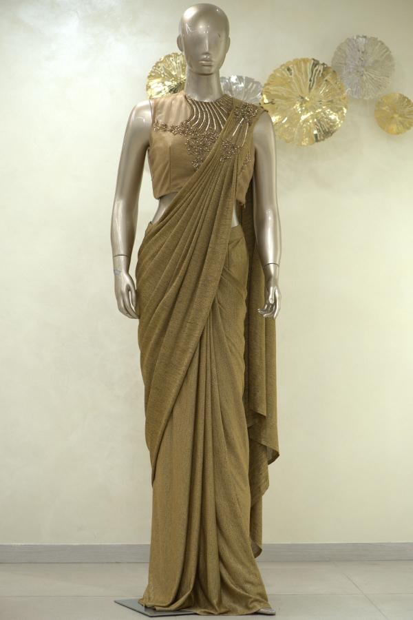 Gold Sequins Embroidered Lycra Saree-SR25389