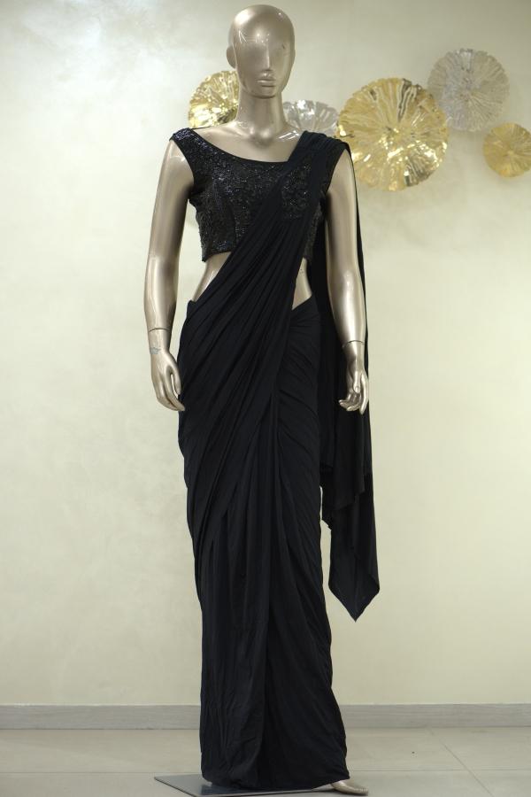 Black Cutdana Embroidered Lycra Saree-SR25390