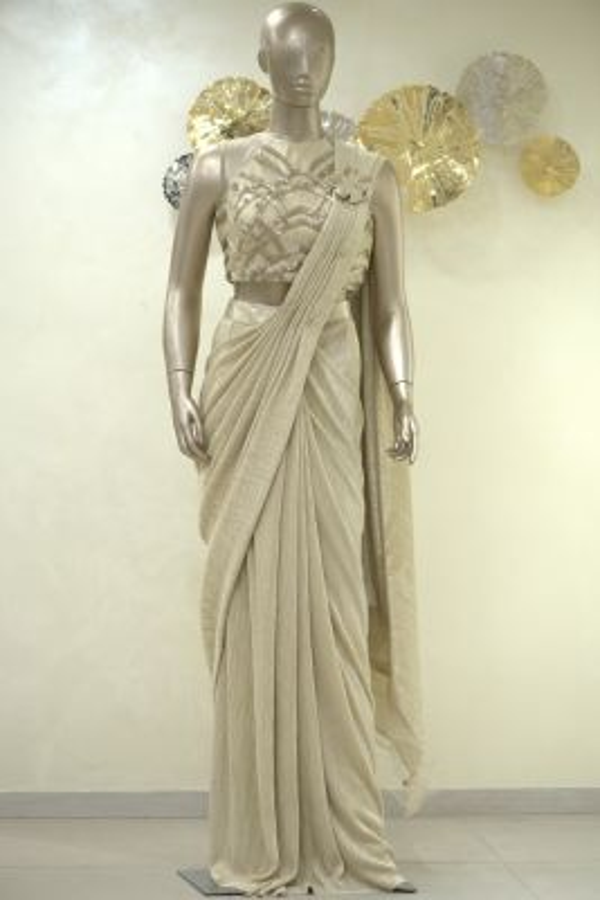 Gold Applique Embroidered Lycra Saree-SR25391