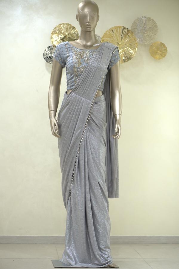 Silver Sequins Embroidered Lycra Saree-SR25393