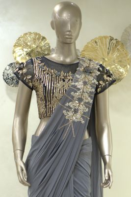 Taupe Grey Bead Embroidered Lycra Saree-SR25395