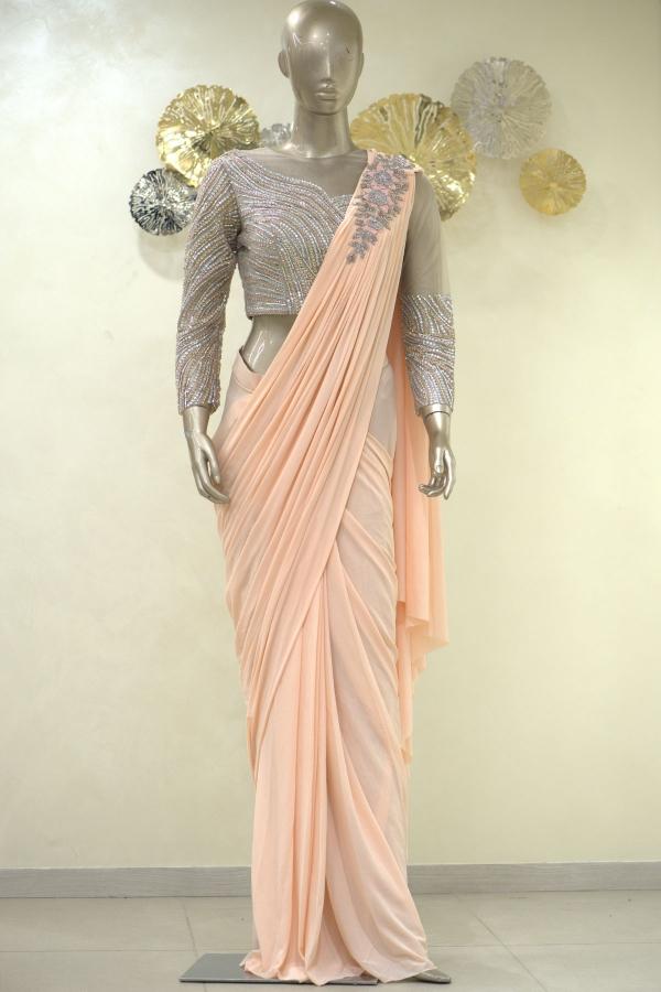Blush Peach Stone Embroidered Lycra Saree-SR25398