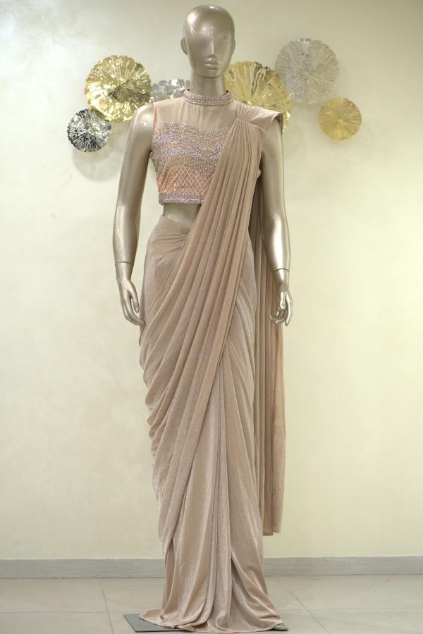 Champagne Sequins Embroidered Lycra Saree-SR25399