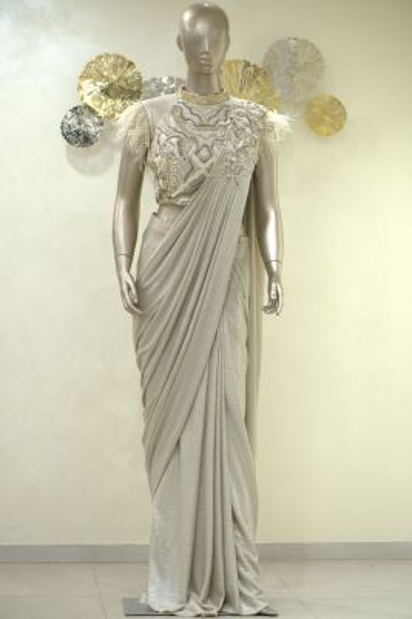 Sand Dollar Resham Embroidered Lycra Saree-SR25401