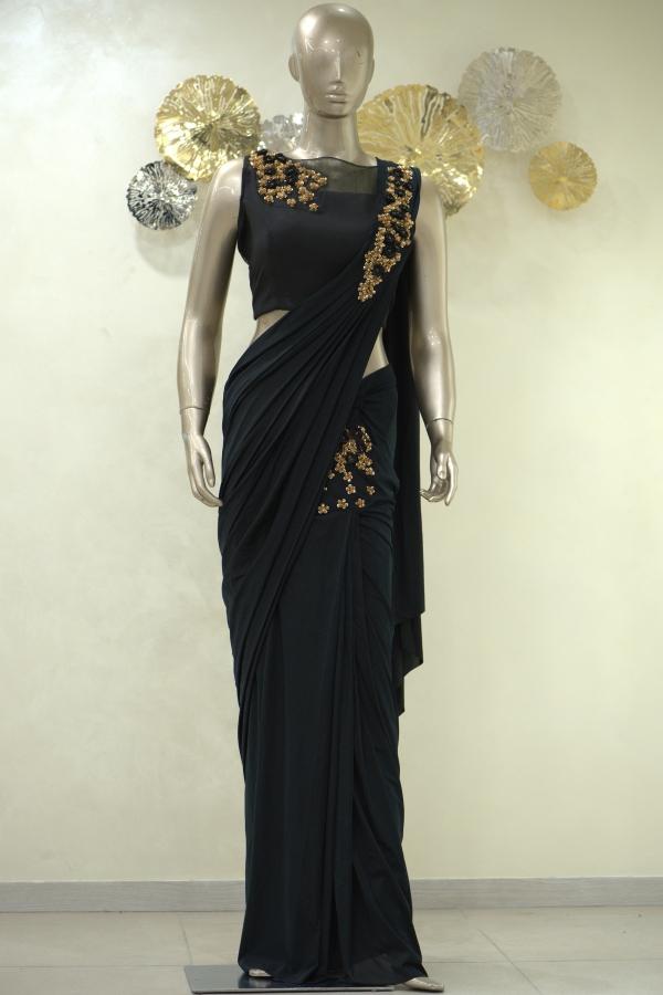 Black Sequins Embroidered Lycra Saree-SR25405