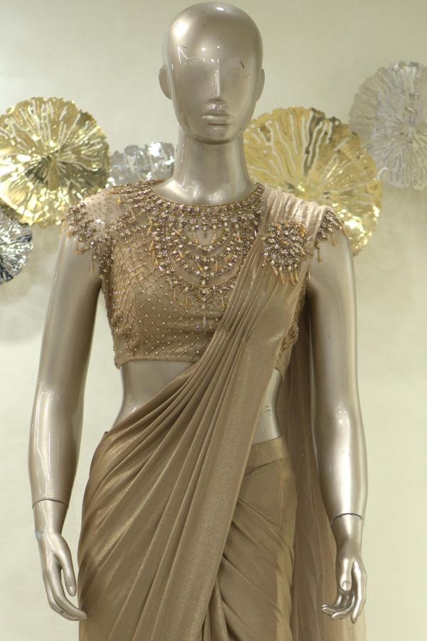 Gold Stone Embroidered Shimmer Lycra Saree-SR25408