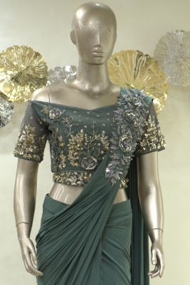 Seaweed Green Pearl Embroidered Lycra Saree-SR25410
