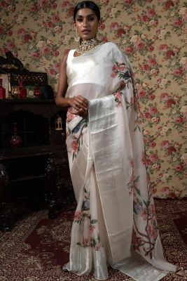 Cream Printed Organza Saree-SR25411