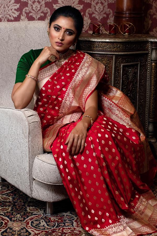 Crimson Red Zari woven Banarasi Silk Saree-SR25461