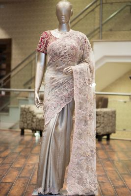 Tan Pearl Embroidered Satin Saree-SR25481