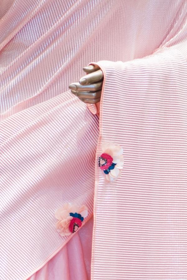 Peach Sequins Embroidered Lycra Saree-SR25508