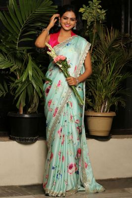 Mint Blue Printed Satin Saree-SR25547