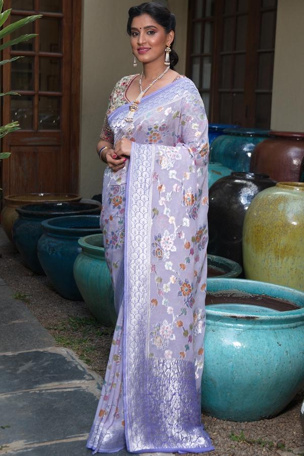 Lavender Zari woven Georgette Saree-SR25565