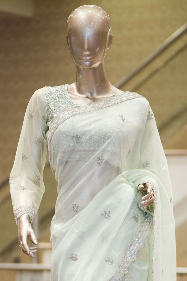 Mint Green Cutdana Organza & Tussar Silk Saree-SR25594