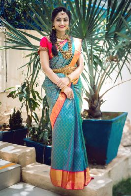 Blue & Green Dual Tone Zari woven Kanchipuram Silk Saree-SR25608