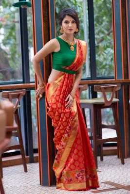 Orange-Red Zari woven Kanchipuram Silk Saree-SR25613
