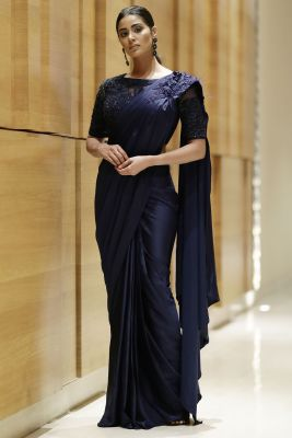Midnight Blue Sequins Embroidered Satin Saree-SR25615