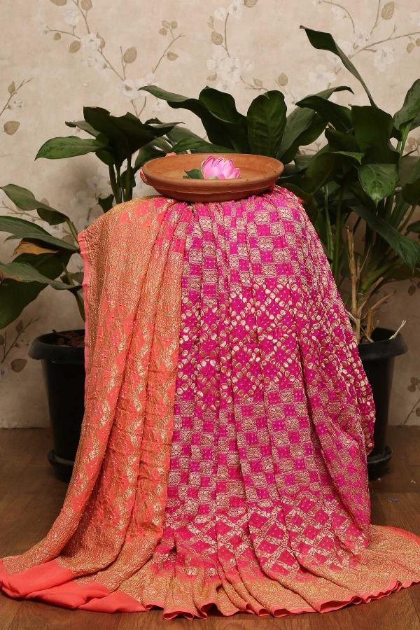 Fuchsia Pink Zari woven Georgette Saree-SR25634