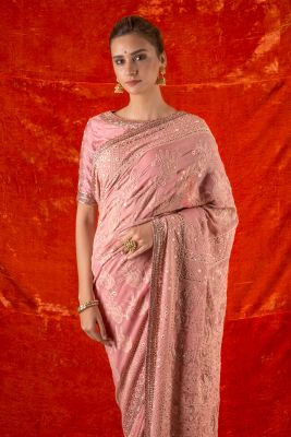 Salmon Pink Thread Embroidered Georgette Saree-SR25645