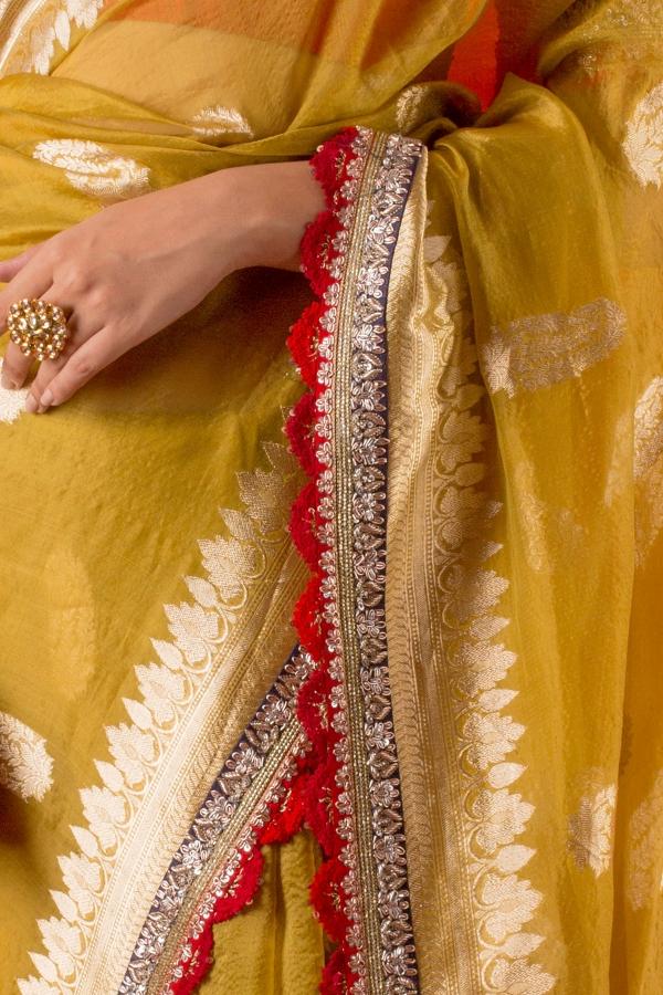 Citrine Yellow Zari Woven Organza Saree-SR25649