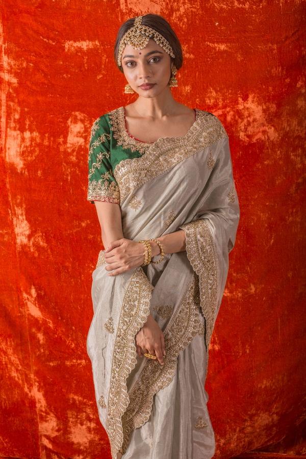 Light Grey Sequins Embroidered Silk Saree-SR25652