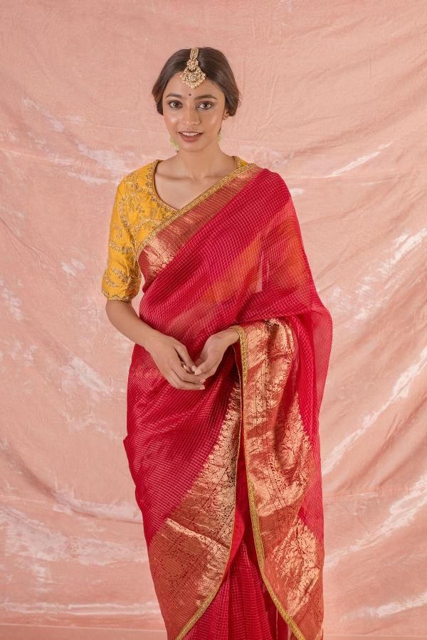 Crimson Red Zari Woven Chanderi Silk Saree-SR25653