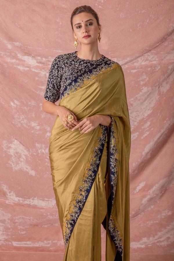 Gold Stone Embroidered Silk Saree-SR25662