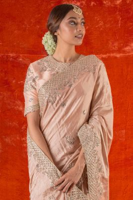 Dusty Pink Sequins Embroidered Silk Saree-SR25668
