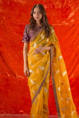 Marigold Yellow Sequins Embroidered Organza Saree-SR25670