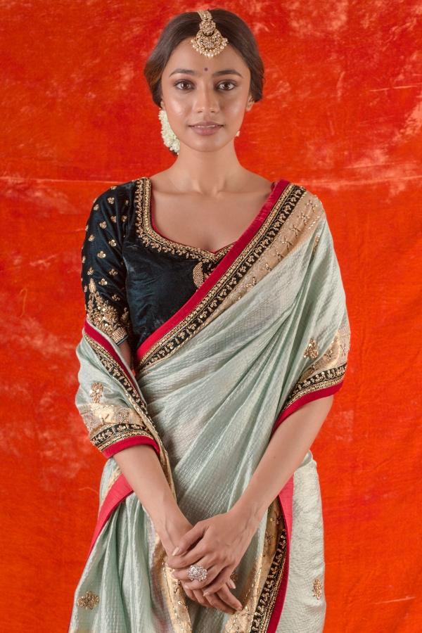 Powder Green Zari woven Silk Saree-SR25673