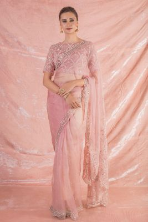 Rouge Pink Mirror Embroidered Organza Saree-SR25675