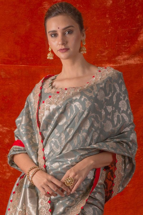 Slate Blue Zari woven Tussar Silk Saree-SR25676