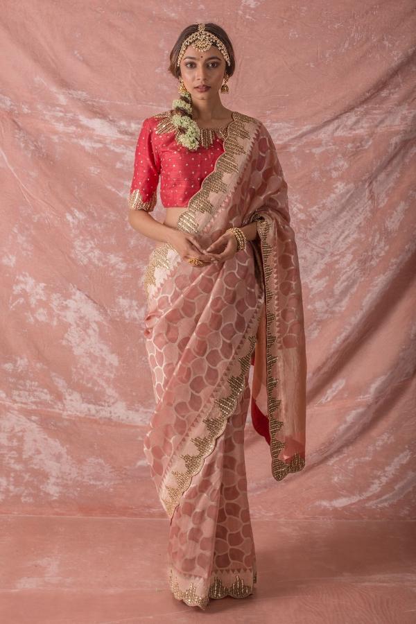 Blush Pink Sequins Embroidered Silk Saree-SR25677