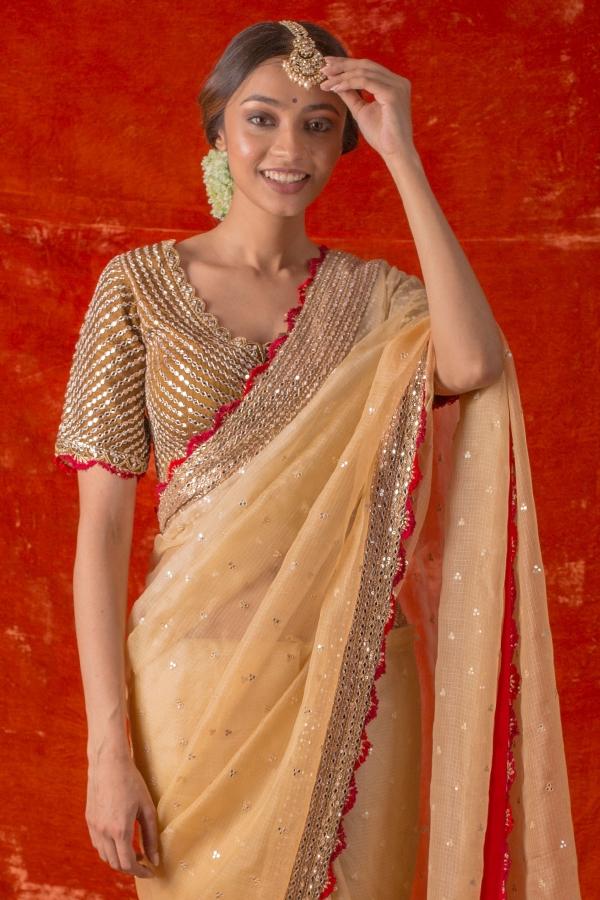 Mellow Yellow Mirror Embroidered Silk Saree-SR25681