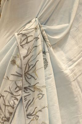 Periwinkle Blue Bead Embroidered Linen Saree-SR25682