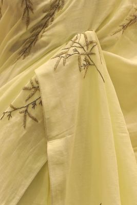Pastel Yellow Bead Embroidered Linen Saree-SR25683